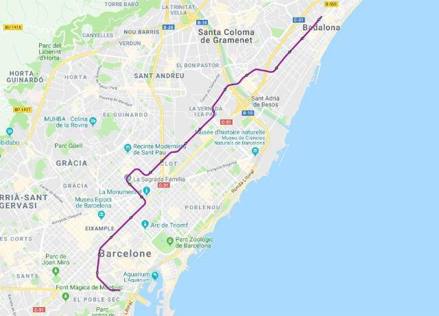 Plan Metro Barcelone Ligne 2