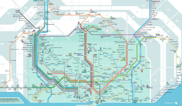 Plan Metro Barcelone Zones