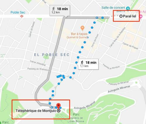 Plan Metro Montjuic Barcelone